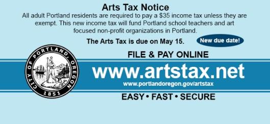 Portland Arts Tax Notice